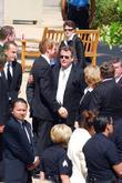 ryan o neal arrives at the funeral services for act