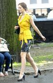 Leighton Meester filming a scene for 'Gossip Girl'...