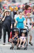 Heidi Klum, family walking in Greenwich Village