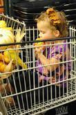 Honor Marie Warren takes a bite on a miniature ornamental pumpkin while out with her mom shopping at Whole Foods in Beverly Hills