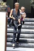 Jessica Alba leaving a residence with her daughter,...