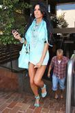 Katie Price, aka Jordan and leaving a medical building in Beverly Hills wearing a baby blue ensemble