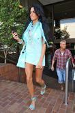 Katie Price, aka Jordan, leaving a medical building in Beverly Hills wearing a baby blue ensemble