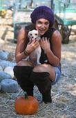 Lacey Schwimmer Visits Mr. Bones Pumpkin Patch In West Hollywood With Her Two Puppies