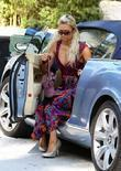 Paris Hilton, Wearing A Long Batik Dress and Visits A Private Residence