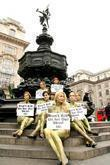 Animal rights activists held a naked protest in...