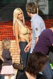 Larry Birkhead talks to Shauna Sand as they visits Mr. Bones Pumpkin Patch in West Hollywood