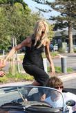 American Fashion Stylist Rachel Zoe Getting Into A Convertible Sports Car In Cross Creek