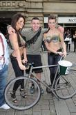Women With Painted-on Camouflage Bras Collect Money For The Support Our Soldiers (sos) Charity