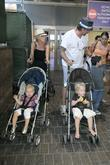 Tori Spelling, Dean McDermott arrive at Tom Bradley International Terminal at LAX airport with their children Liam and Stella