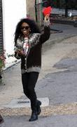 Sinitta arrives to record the 'X Factor'