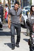 'Twilight' star Alex Meraz leaving Urth Cafe on Melrose Avenue after meeting his friends