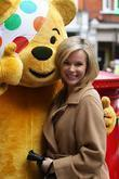 Amanda Holden with Pudsy the Bear outside the...