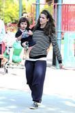 A pregnant Amanda Peet  spends time with...