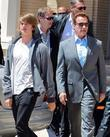 Patrick and Arnold Schwarzenegger  seen leaving Barney's...