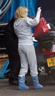 Amanda Holden after arriving on a Motorcycle Taxi...