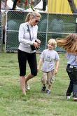 Sharon Stone, Her Son At The Elizabeth Glaser Celebrity Carnival In Santa Monica and Ca