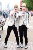 John and Edward Grimes, aka Jedward, outside the...