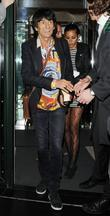 Ronnie Wood and Ana Araujo leaving the The...
