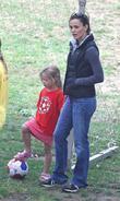 Jennifer Garner and her daughter Violet Anne playing soccer at a Park in Santa Monica