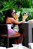 Nicole Polizzi aka 'Snooki' enjoys a giant drink while out