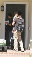 Jessica Alba, Cash Warren and Honor Marie Warren prepare to leave the family home in Westwood