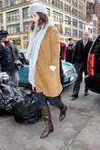 Jeanne Yang leaving an office building in Manhattan...