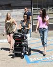 Kourtney Kardashian, Kendall Jenner (R) and a family friend take Kourtney's son Mason for a day out at Cross Creek in Malibu