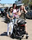Kourtney Kardashian, Kendall Jenner (C) and a family friend take Kourtney's son Mason for a day out at Cross Creek in Malibu