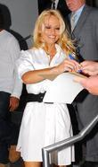 Pamela Anderson arrives at CNN studios for an...
