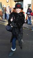 Anita Dobson outside the New Wimbledon Theatre