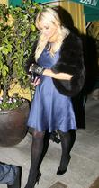 Paris Hilton is seen leaving Dan Tana's restaurant...