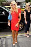 Paris Hilton arriving at her Manhattan hotel after...