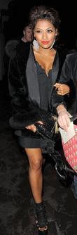 Vanessa White of The Saturdays arrives at the 21st birthday party of fellow band member Rochelle Wiseman