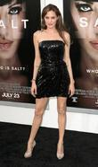 Actress Angelina Jolie attending the L.A. movie premiere...