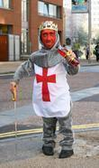 Midget With A Red Face Wearing A St George's Cross