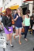 Taylor Swift, friends leaving The Farm restaurant in Beverly Hills, stop by Coffee Bean, Tea Leaf next door to pick up coffee.