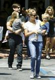 Tobey Maguire, his wife Jennifer Meyer with their daughter Ruby Sweetheart and son Otis Tobias leaving Fred Segal in West Hollywood