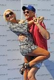 Holly Madison, Josh Strickland Poses For A Photograph At Wet Republic and Mgm Grand Resort Casino