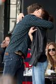Alexander Skarsgard hugging a friend while out to...