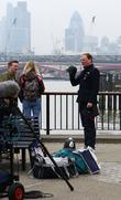 Antony Cotton films scenes for 'Coronation Street' on...