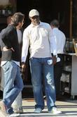 Dijmon Hounsou  is seen leaving Il Pastaio...
