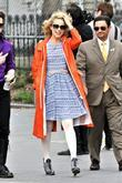 Dianna Agron On location for 'Glee' in Manhattan's...