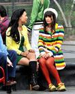 Naya Rivera, Lea Michele On location for 'Glee'...
