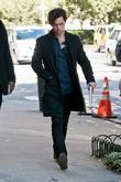 Penn Badgley  on location for 'Gossip Girl'...