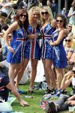 Women enjoying the party wearing Union Flag dresses...