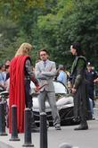 Chris Hemsworth, Robert Downey Jr and Tom Hiddleston