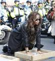 Aerosmith's Steven Tyler leaves his hand print after...
