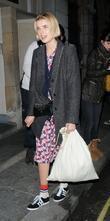 Agyness Deyn leaving the Trafalgar Studios, having performed...