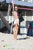 Alessandra Ambrosio plays volleyball on Malibu beach Malibu,...